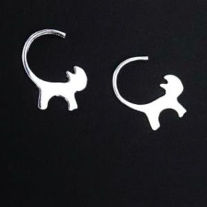 Long Tail Cat Silver Plated Earrings